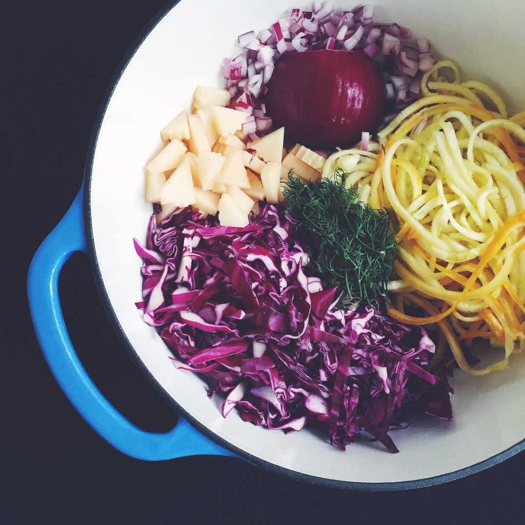 Clean Out the Fridge Vegetable Soup with Red Cabbage, Spiralized Squash, Red Onions, Potatoes, Dill, Paprika and Smoked Salt