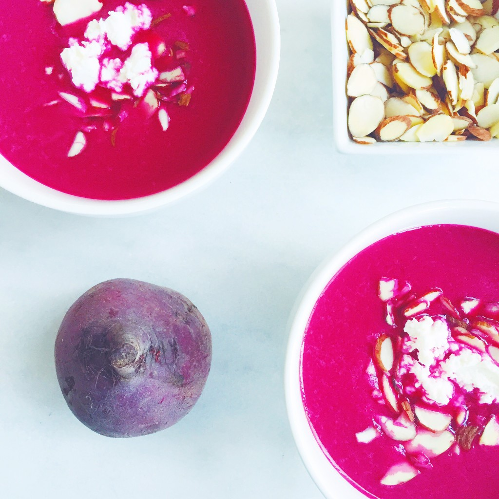 Caramelized Onion and Beet Soup with Almonds and Goat Cheese