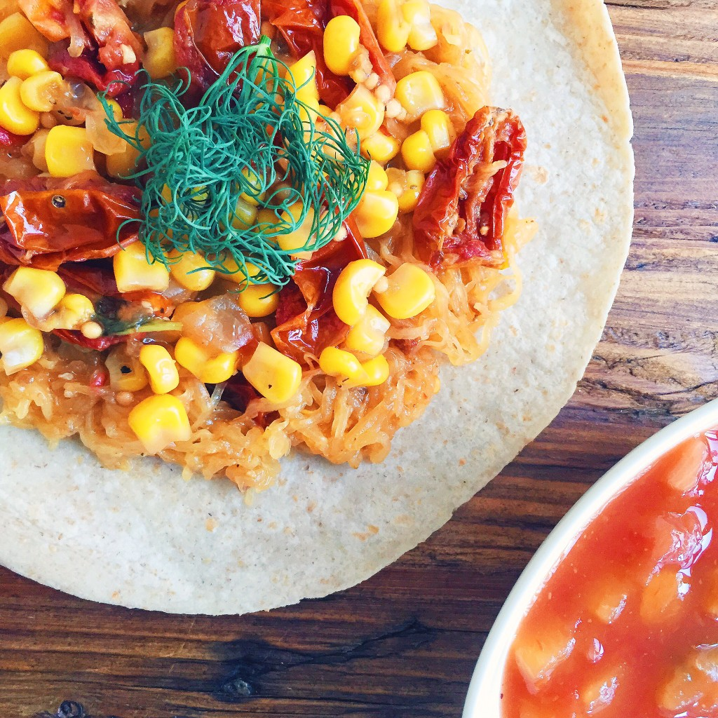 Spaghetti Squash and Roasted Tomato Tacos with Corn and Dill