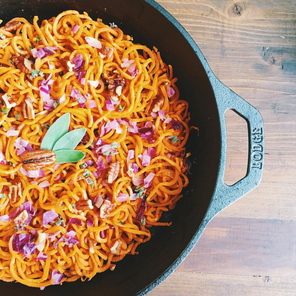 Sweet Potato Noodles with Sage Brown Butter and Pecans