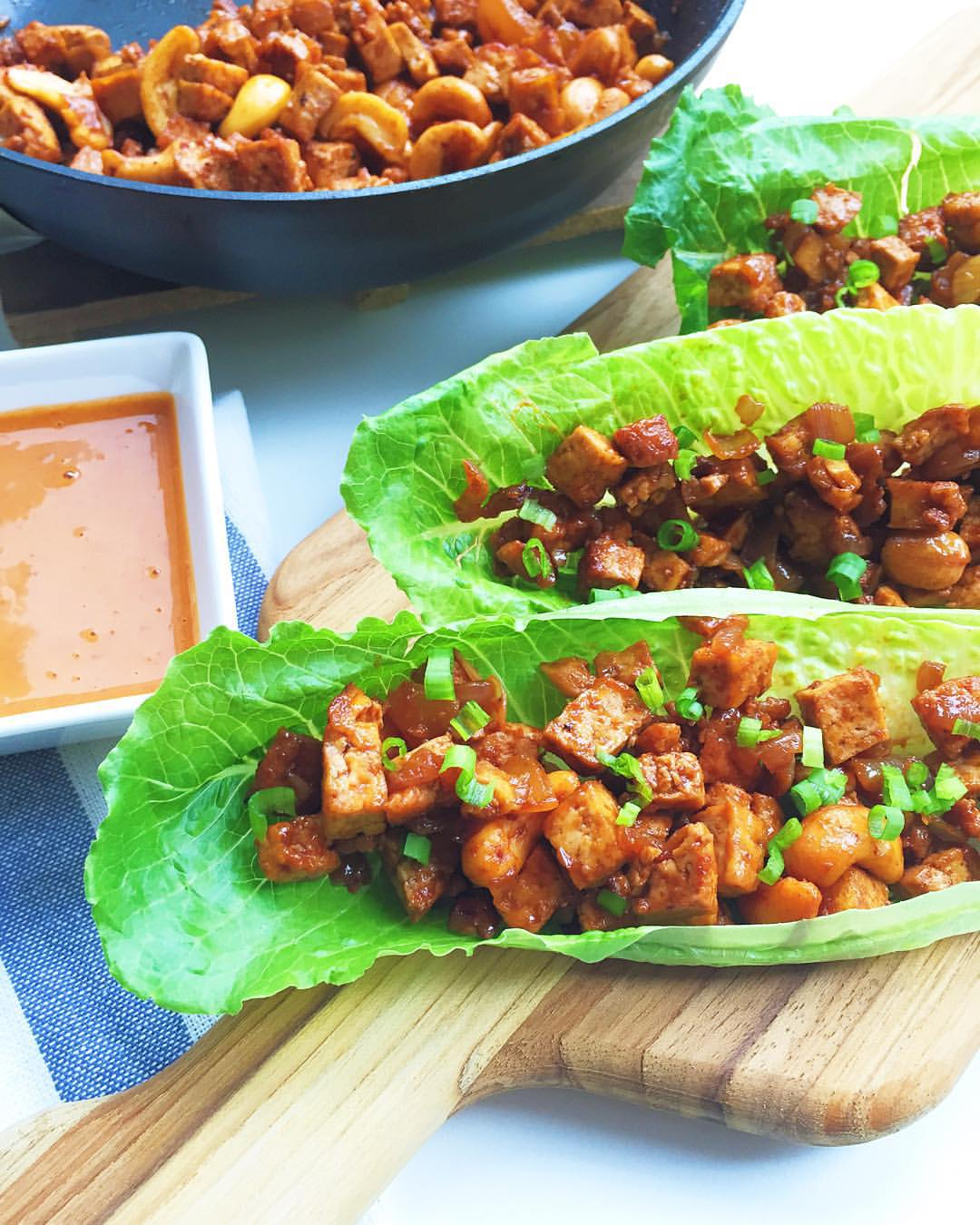Tofu and Sriracha Lime Cashew Lettuce Wraps