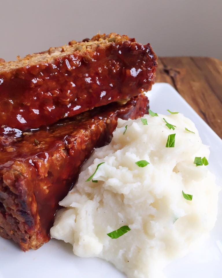 Veggie Lentil Meatloaf with Mashed Potatoes