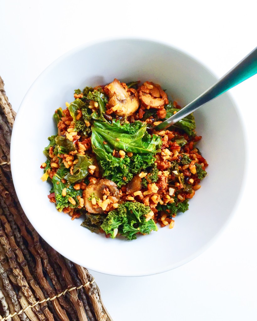Vegan Chorizo, Kale and Mushroom Rice Salad
