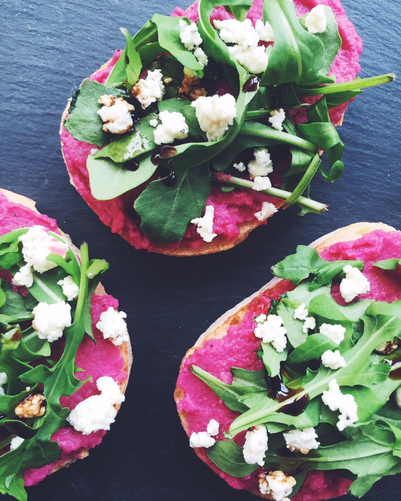 Beet Hummus Toast with Goat Cheese, Arugula and Fig Balsamic