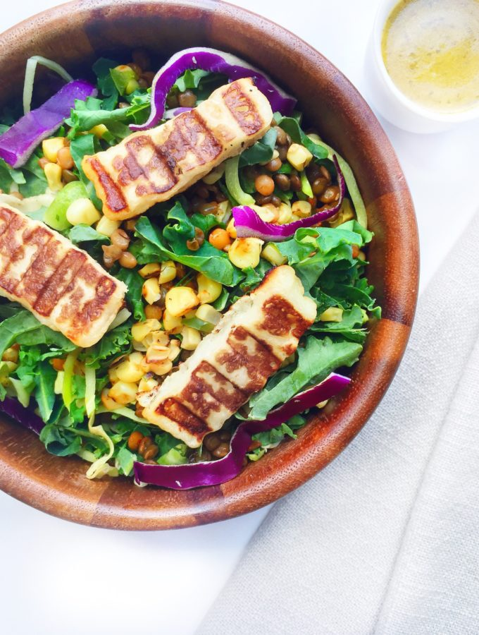 Trader Joe's One Stop Shop Grilled Halloumi, Corn and Lentil Kale Salad with Sweet and Spicy Mango Vinaigrette