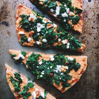 Sweet Potato and Kale Naan Pizza