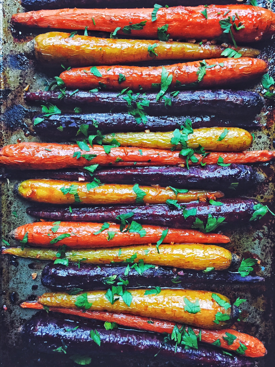 Sriracha Maple Roasted Rainbow Carrots