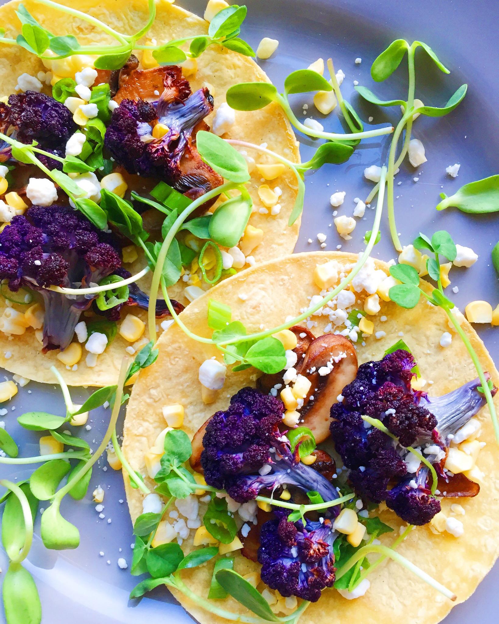 Roasted Purple Cauliflower and Mushroom Tacos
