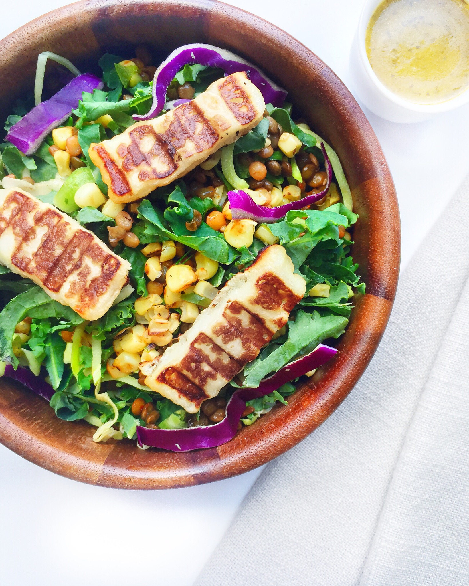 Grilled Halloumi and Lentil Kale Salad with Sweet and Spicy Mango Vinaigrette